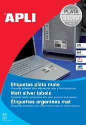 Apli etiketten ft 210 x 297 mm (b x h), 20 stuks, 1 per blad, zilver
