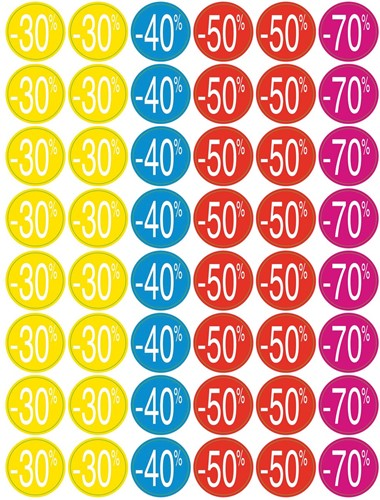 Agipa kortinglabel van -30% tot -70%, geassorteerde kleuren