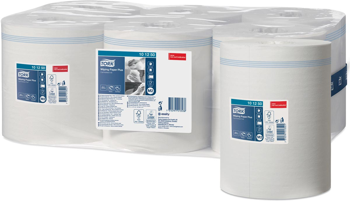 Tork Advanced Wiping Plus poetspapier, centerfeed, 2-laags, systeem M2, wit, pak van 6 rollen