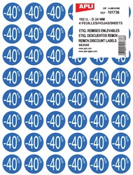 Agipa Kortinglabel -40%, blauw, pak van 192 stuks, verwijderbaar