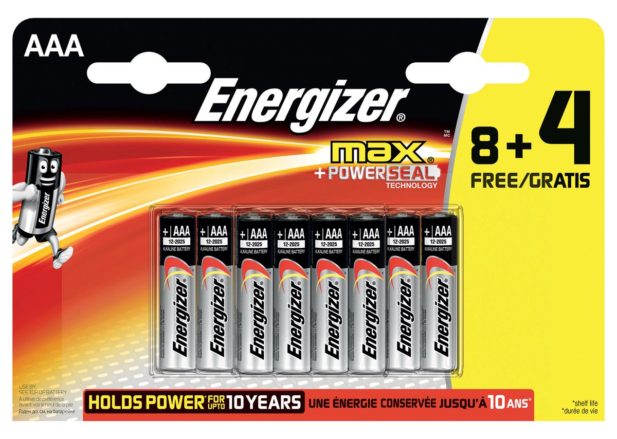Energizer batterijen Max AAA, blister van 8 stuks + 4 stuks gratis