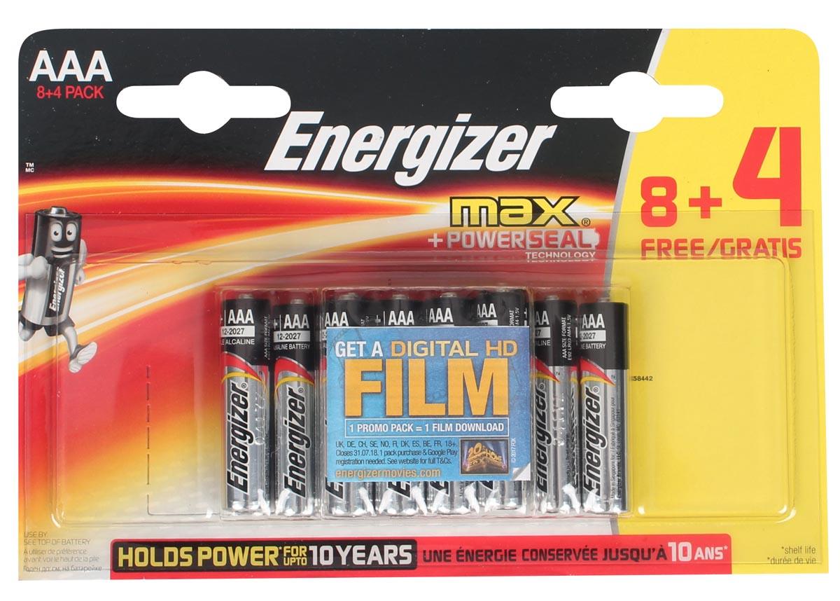 Energizer batterijen Max AAA, promoblister van 8 + 4 GRATIS