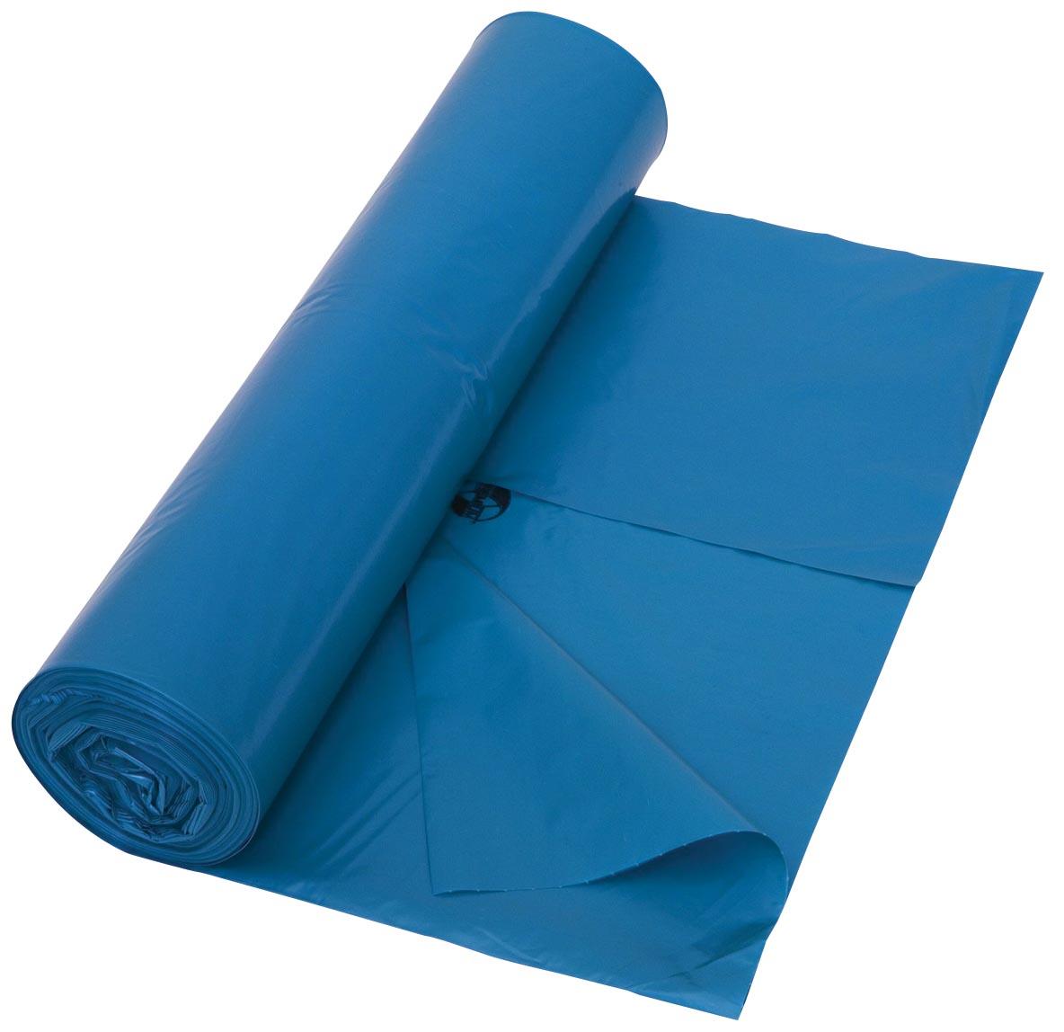 Vuilniszak 45 micron, ft 80 x 100 cm, blauw, rol van 25 stuks