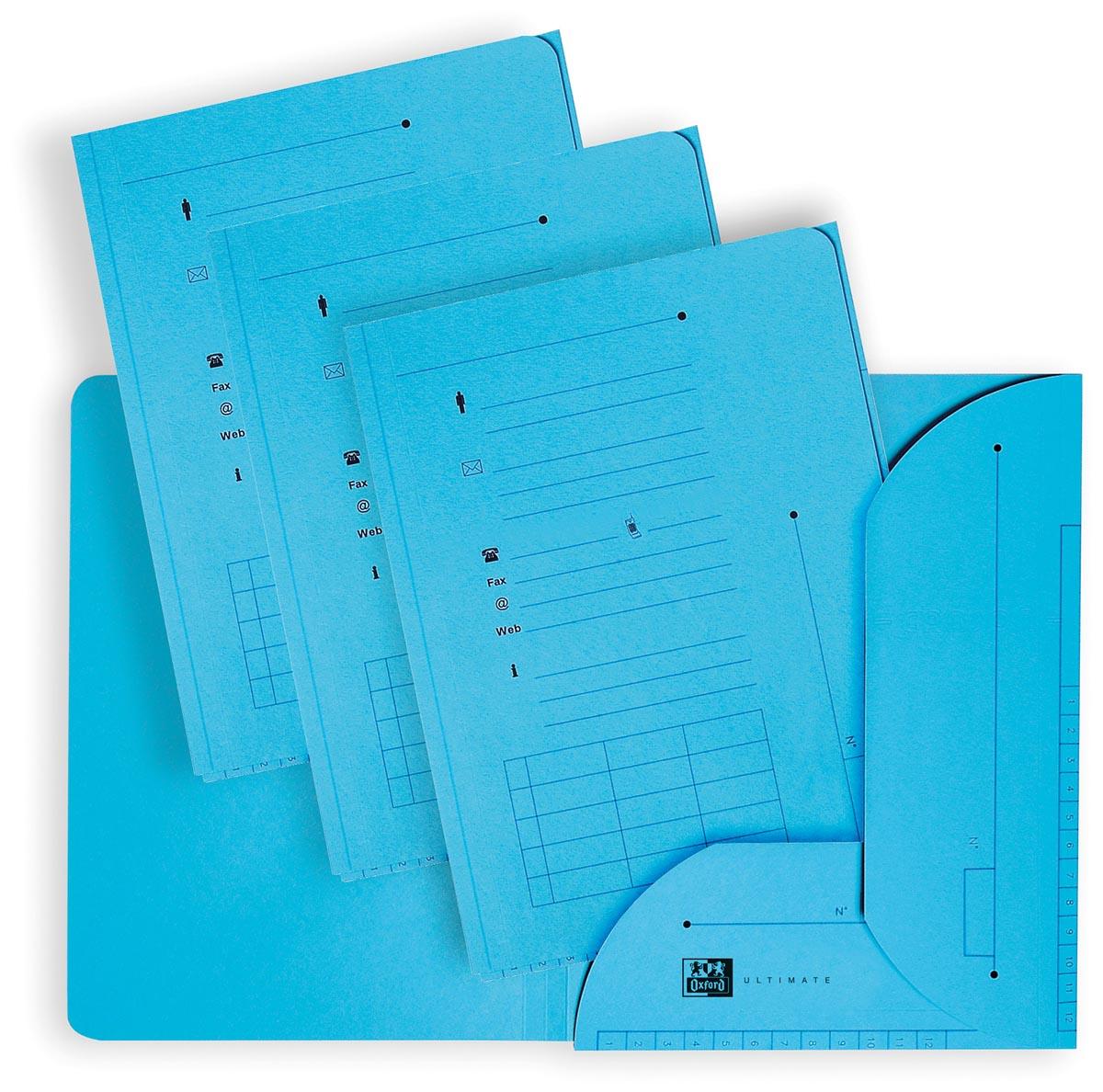 OXFORD Ultimate dossiermap, formaat A4, uit karton, met 2 kleppen, pak van 25 stuks, blauw