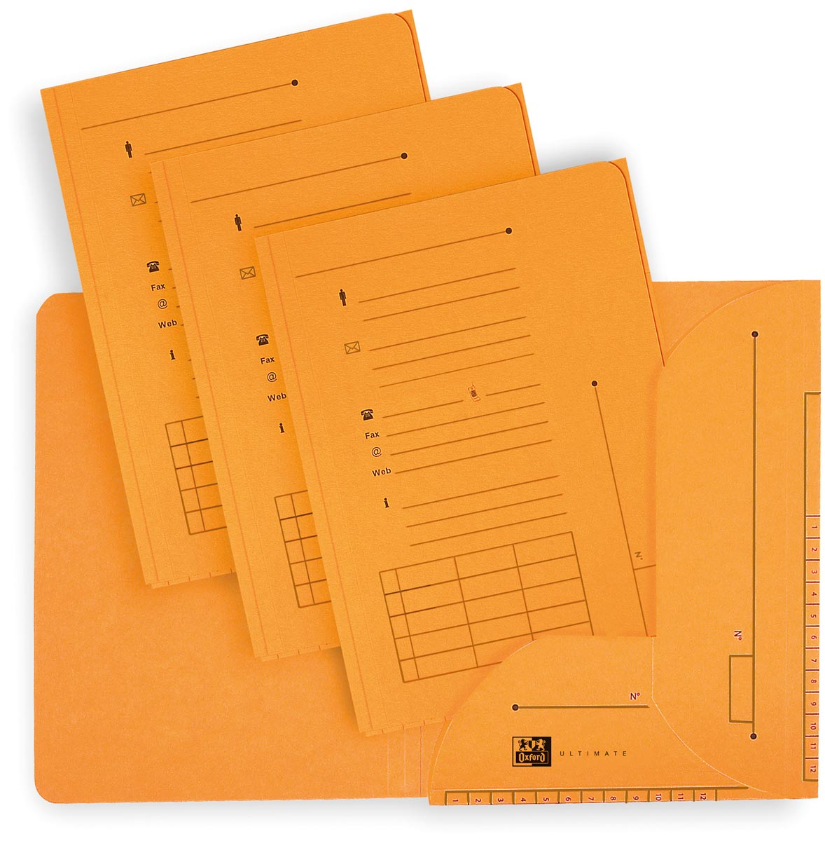 OXFORD Ultimate dossiermap, formaat A4, uit karton, met 2 kleppen, pak van 25 stuks, geel
