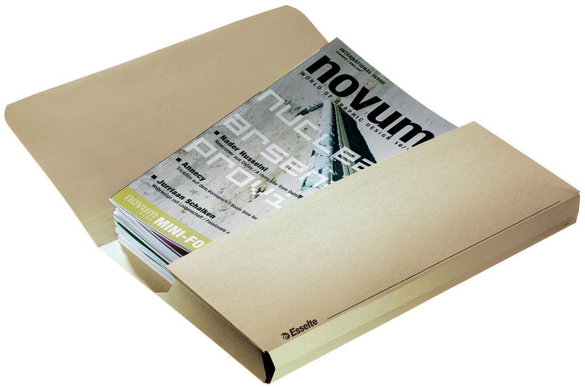 Esselte Documentmappen Pocket Chamoise Manilla Karton Overslaande klep lijnbedrukking en uitrekbare
