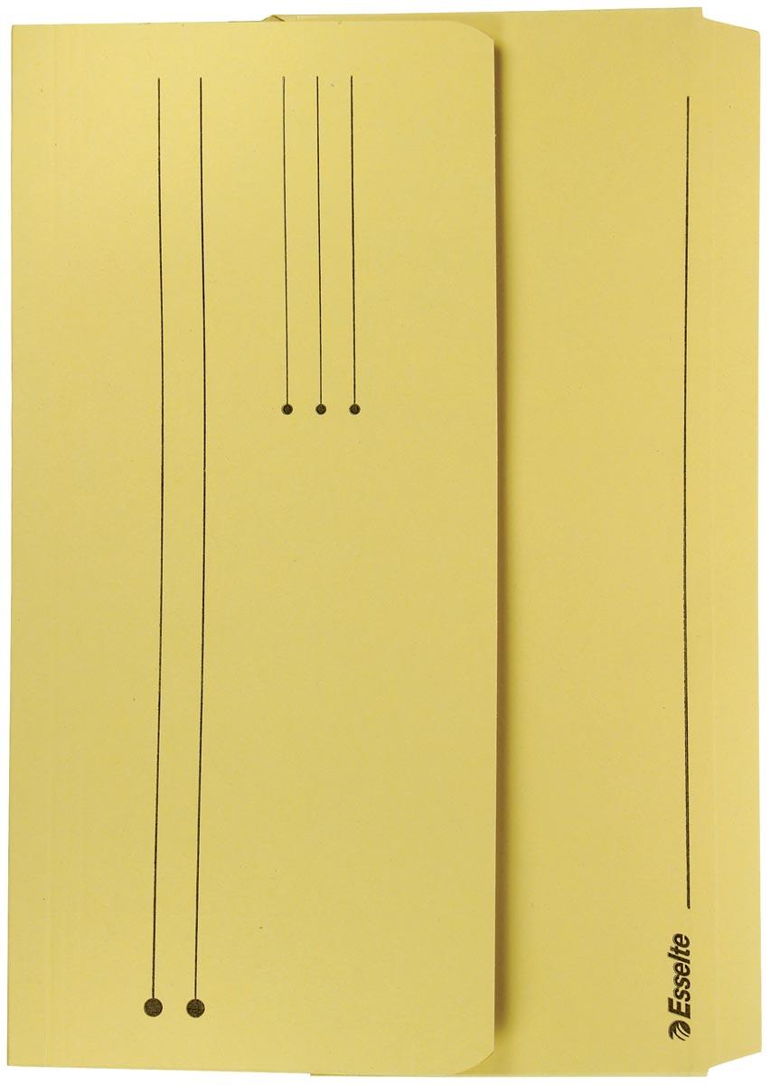 Esselte Documentmappen Pocket Geel Manilla karton Overslaande klep lijnbedrukking en uitrekbare rug