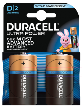 Duracell Batterijen Ultra Power D Duralock LR20 2 Stuks