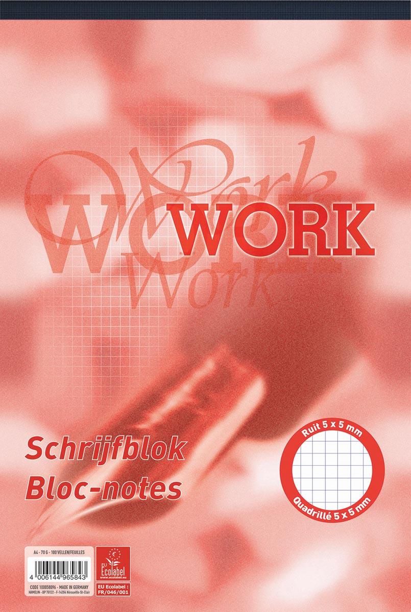 Work schrijfblok, ft A4, 70 g/m�, 100 vel, geruit 5 mm