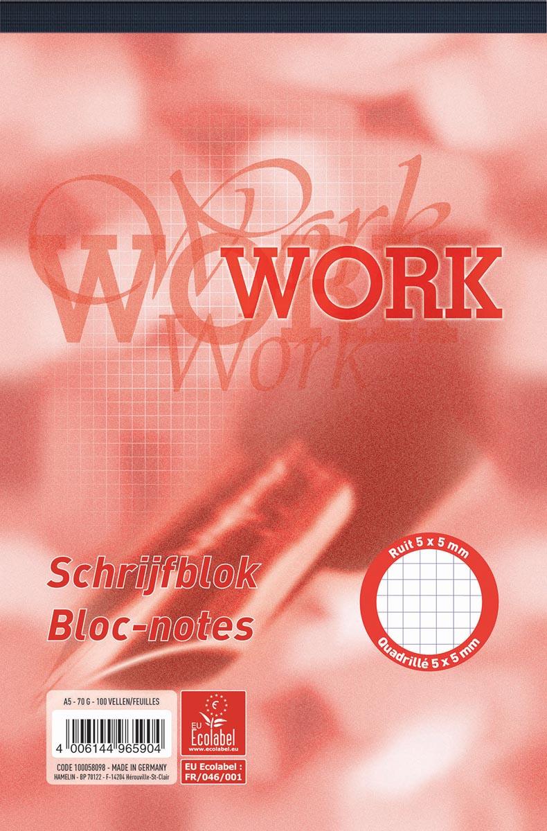 Work schrijfblok, ft A5, 70 g/m�, 100 vel, geruit 5 mm