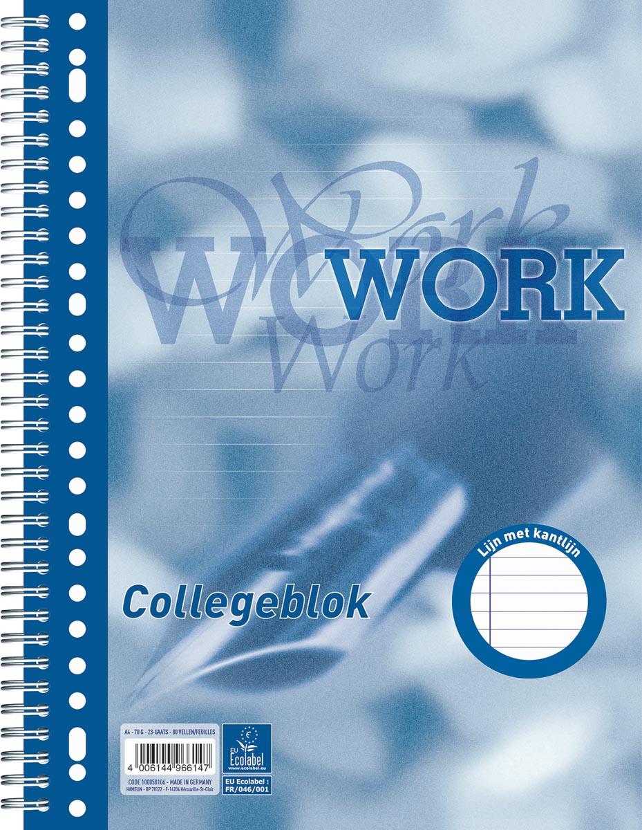 Work collegeblok, ft A4, gelijnd, 80 vel