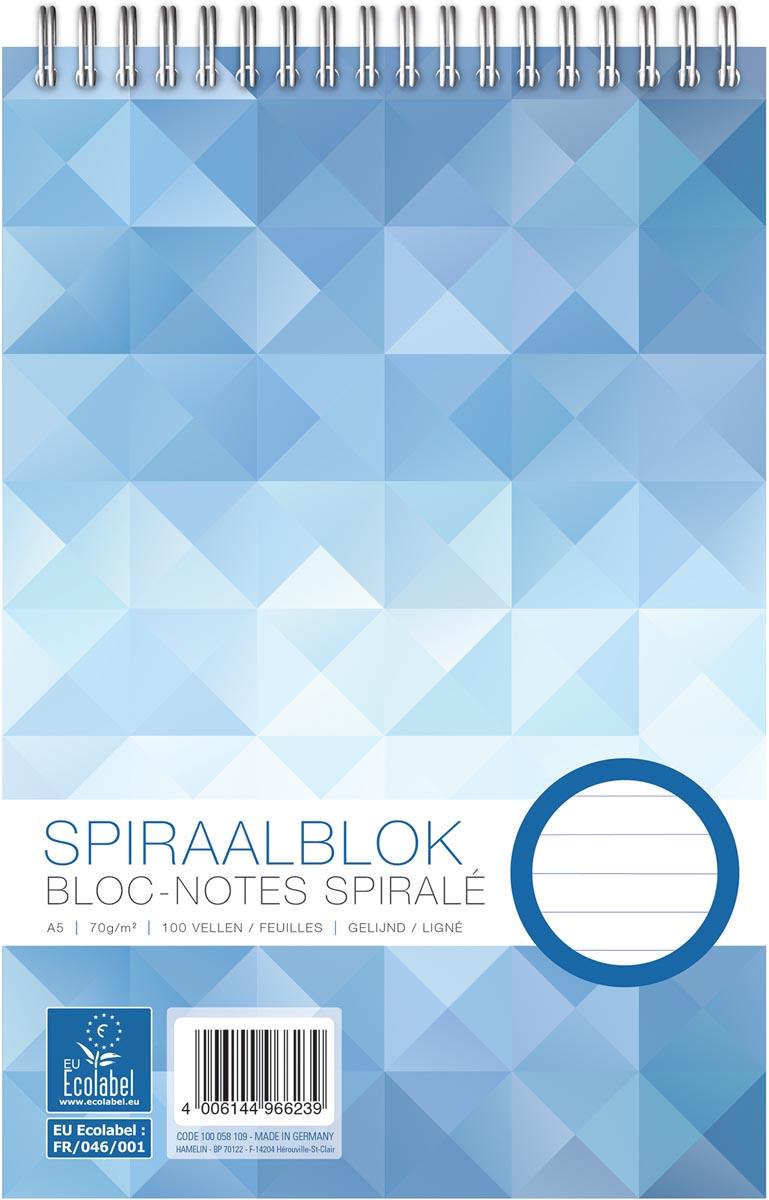 Work kopspiraalblok, ft A5, 70 gr ,gelijnd, 200 bladzijden