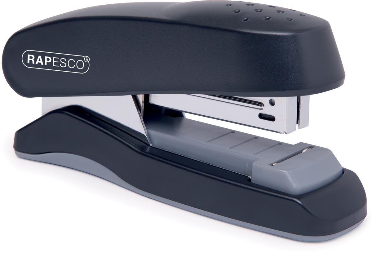 Rapesco flat clinch half strip nietmachine zwart, op blister