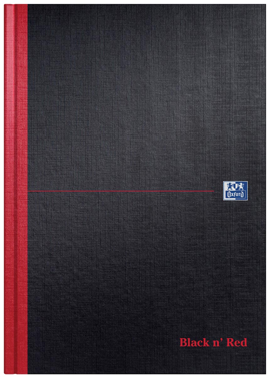 Oxford BLACK N' RED gebonden boek, 192 bladzijden, ft A4, blanco