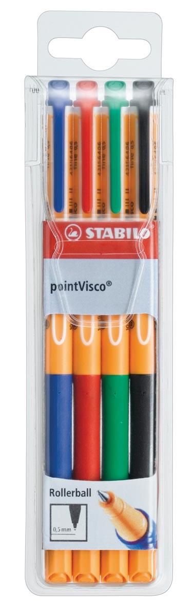STABILO pointVisco roller, 0,5 mm, etui van 4 stuks in geassorteerde kleuren