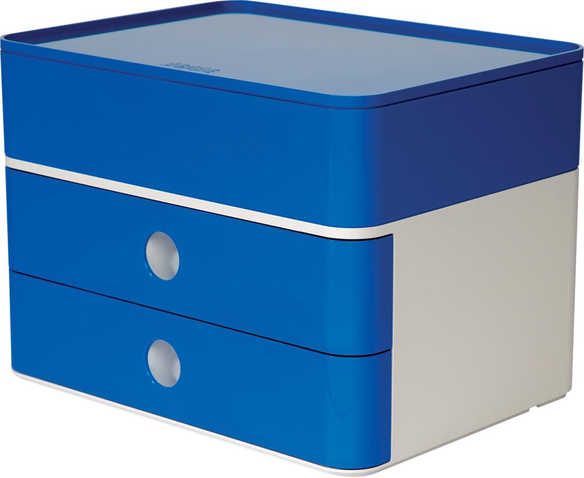 Han ladenblok Allison, smart-box plus met 2 laden en organisatiebak, wit/blauw