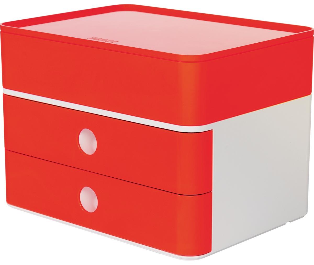 Han ladenblok Allison, smart-box plus met 2 laden en organisatiebak, wit/rood