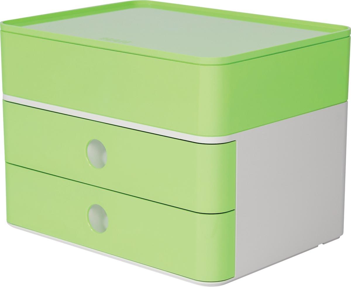 Han ladenblok Allison, smart-box plus met 2 laden en organisatiebak, wit/groen