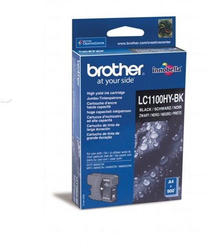 Brother inktcartridge zwart, 900 pagina's - OEM: LC-1100HYBK