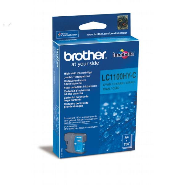 Brother inktcartridge cyaan, 750 pagina's - OEM: LC-1100HYC