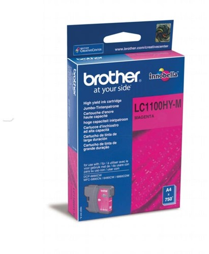 Brother inktcartridge, 750 pagina's, OEM LC-1100HYM, magenta