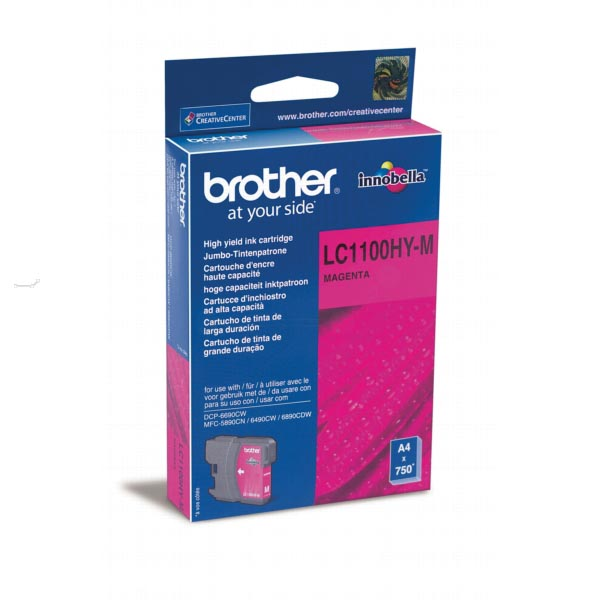 Brother inktcartridge magenta, 750 pagina's - OEM: LC-1100HYM