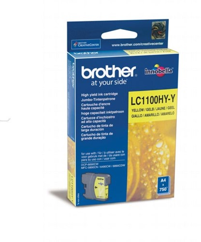 Brother inktcartridge, 750 pagina's, OEM LC-1100HYY, geel