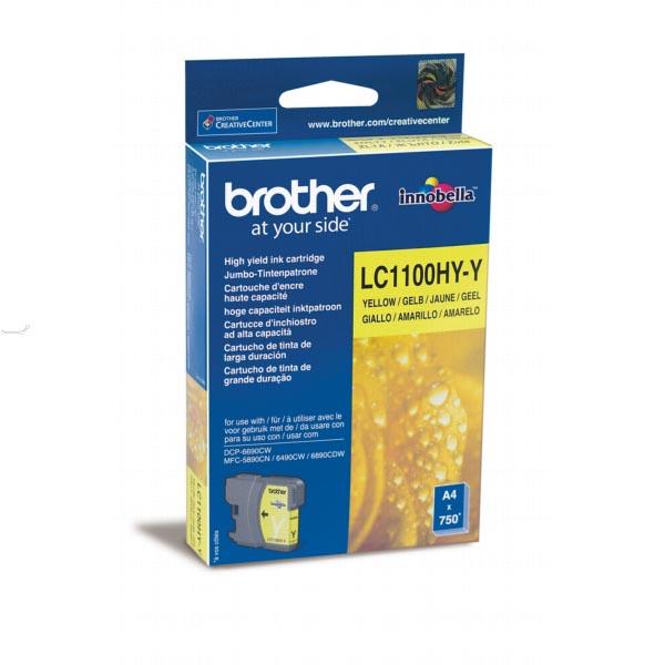 Brother inktcartridge geel, 750 pagina's - OEM: LC-1100HYY