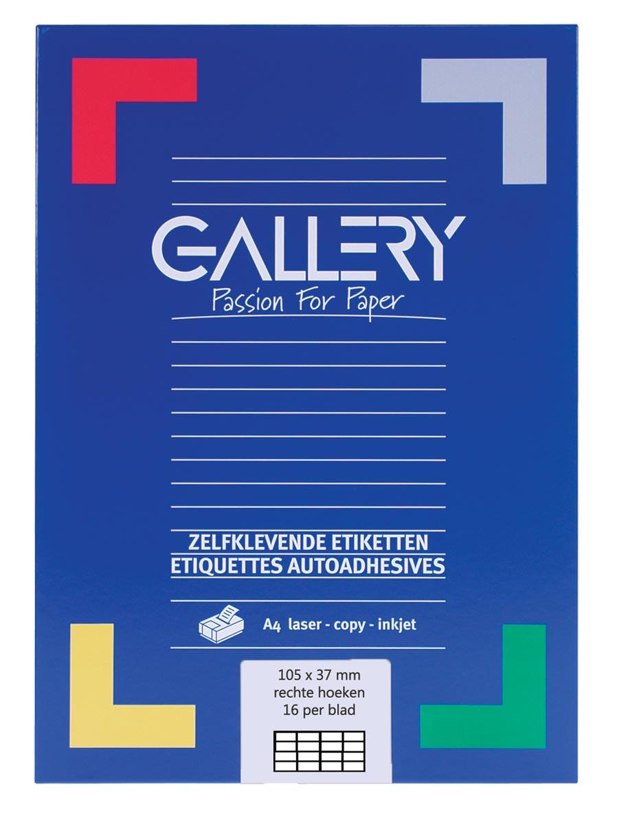 Gallery witte etiketten ft 105 x 37 mm (b x h), rechte hoeken, doos van 1.600 etiketten