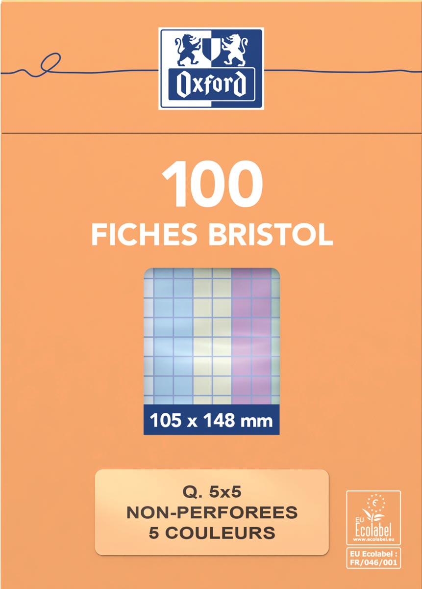OXFORD flashcards ongeperforeerd, ft 105 x 148 mm, geruit 5 mm, geassorteerde kleuren, pak van 100 v