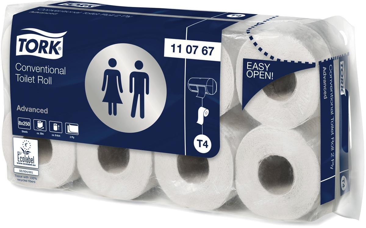 Tork toiletpapier Advanced, 2-laags, systeem T4, 250 vellen, pak van 8 rollen