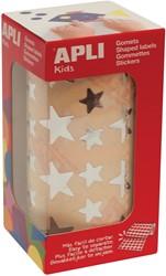 Apli Kids stickers op rol, ster, 2360 stuks, metallic zilver