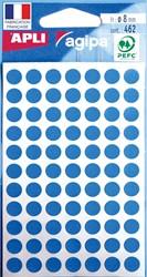 Agipa ronde etiketten in etui diameter 8 mm, blauw, 462 stuks, 77 per blad