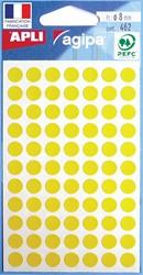 Agipa ronde etiketten in etui diameter 8 mm, geel, 462 stuks, 77 per blad