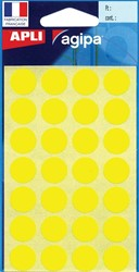 Agipa ronde etiketten in etui diameter 15 mm, geel, 168 stuks, 28 per blad