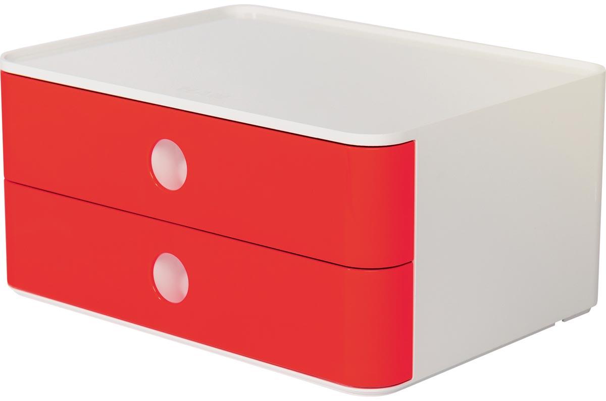Han ladenblok Allison, smart-box met 2 laden, wit/rood