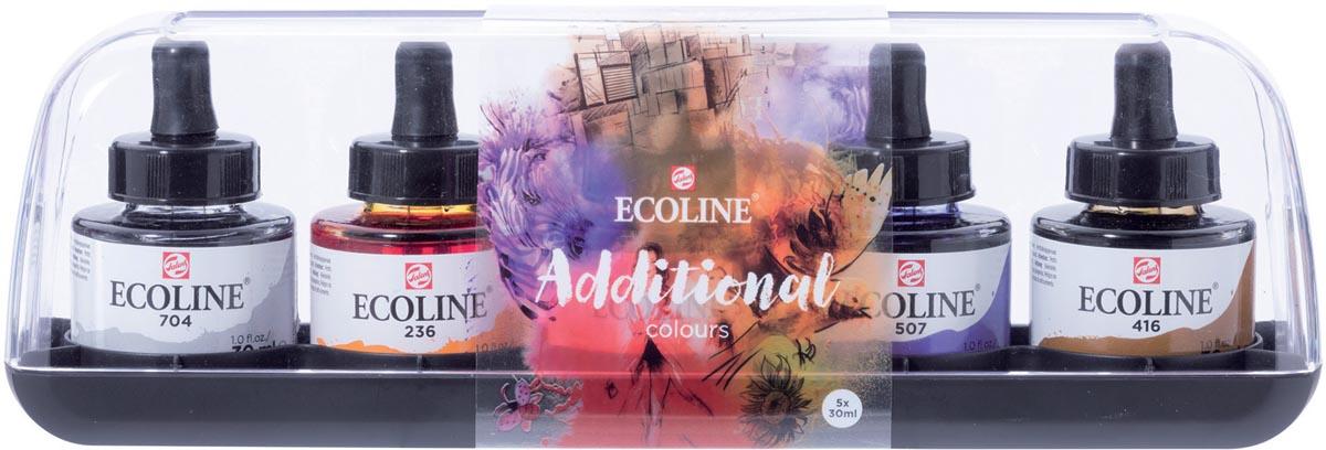 Talens Ecoline waterverf flacon van 30 ml, set van 5 flacons in additionele kleuren