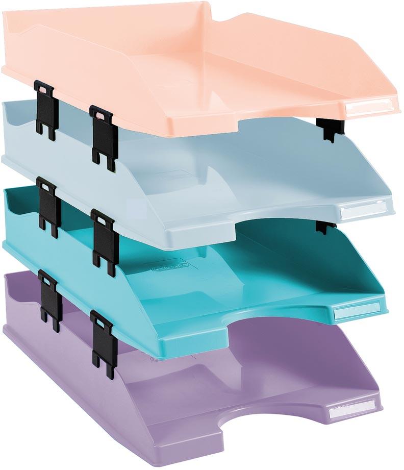 Exacompta brievenbak Combo, pak van 4 stuks in pastel kleuren