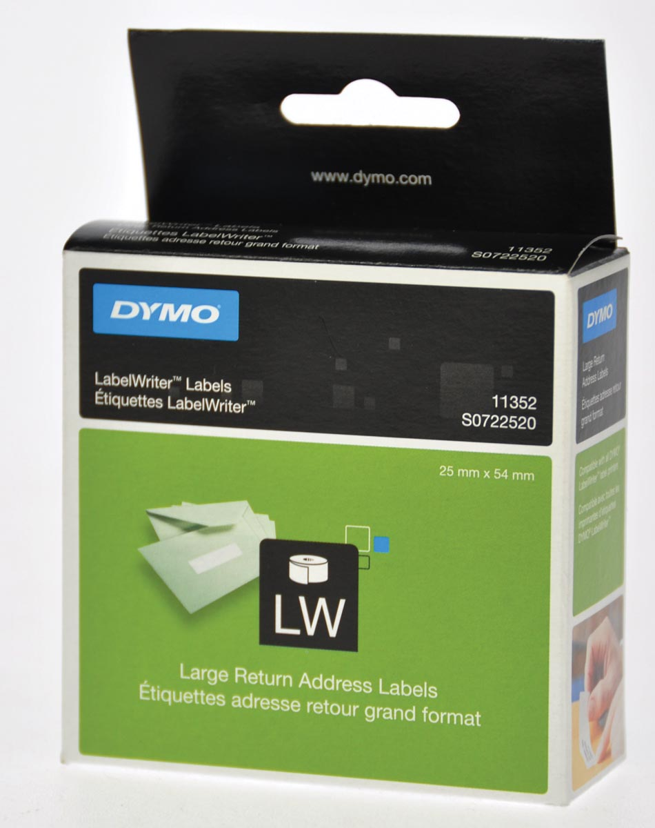 Dymo etiketten LabelWriter ft 25 x 54 mm, wit, 500 etiketten