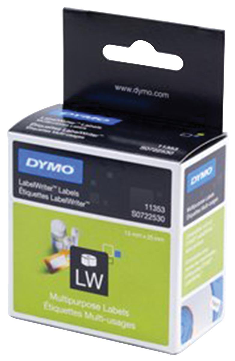 Dymo etiketten LabelWriter ft 13 x 25 mm, verwijderbaar, wit, 1000 etiketten