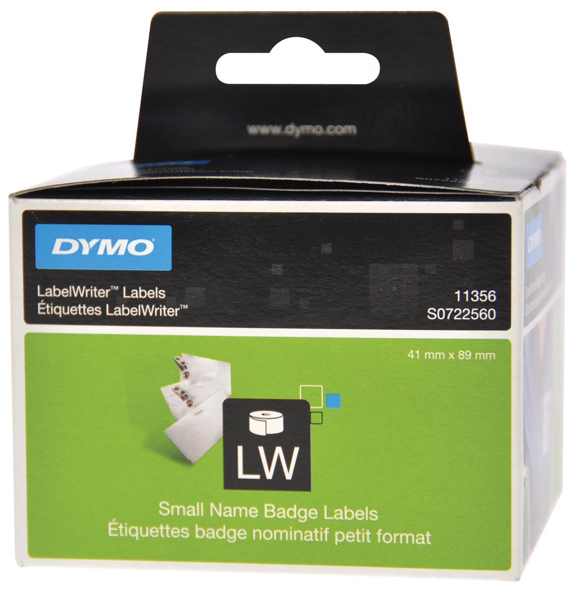 Dymo etiketten LabelWriter ft 89 x 41 mm, verwijderbaar, wit, 300 etiketten