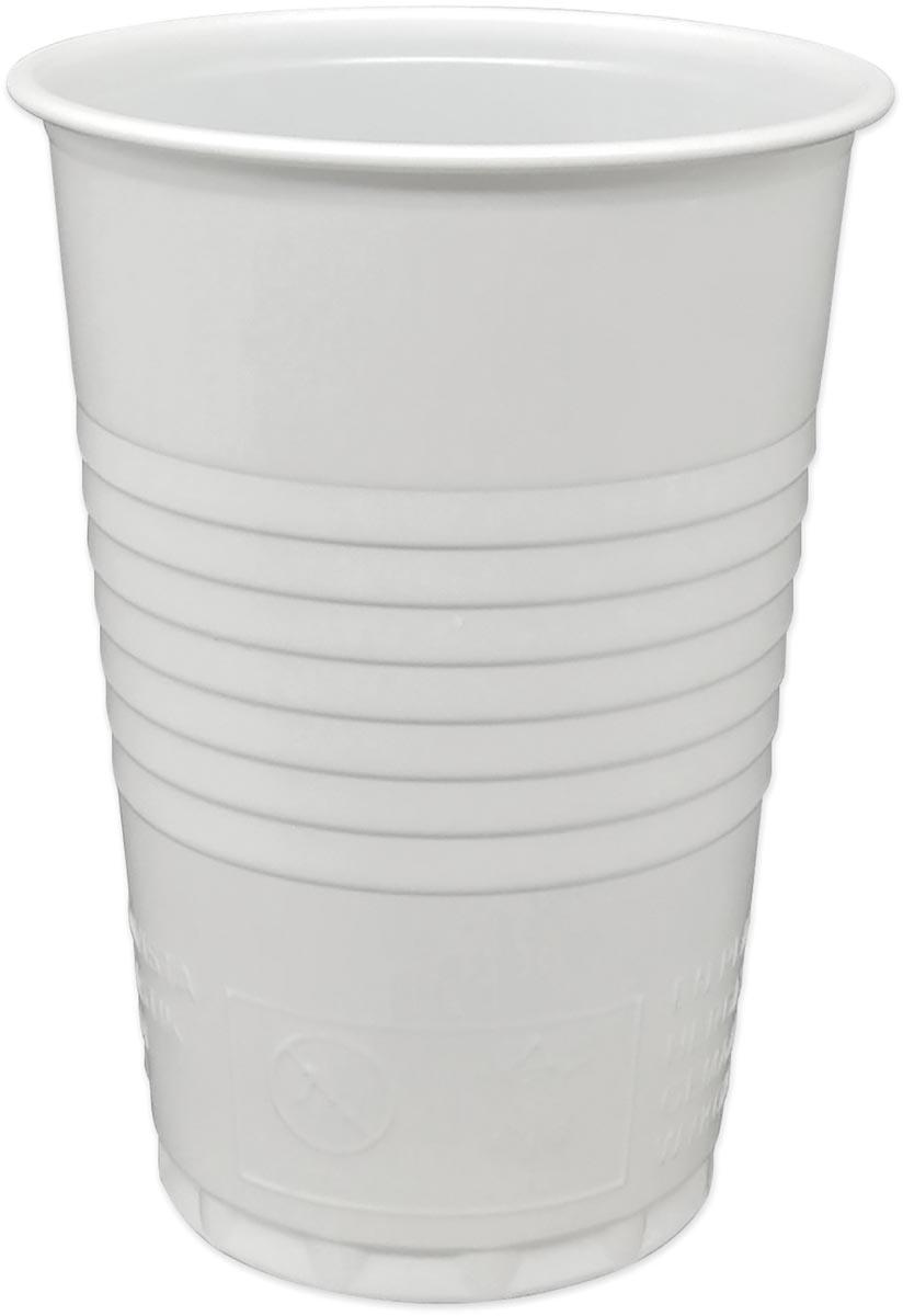 Automaatbeker Copacto uit polystyreen voor warme dranken, 180 ml, wit, pak van 100 stuks
