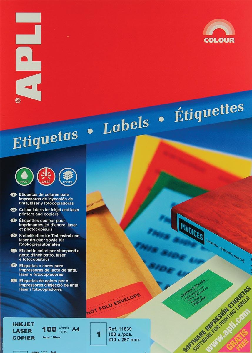 Apli Gekleurde etiketten ft 210 x 297 mm (b x h), blauw, 100 stuks, 1 per blad