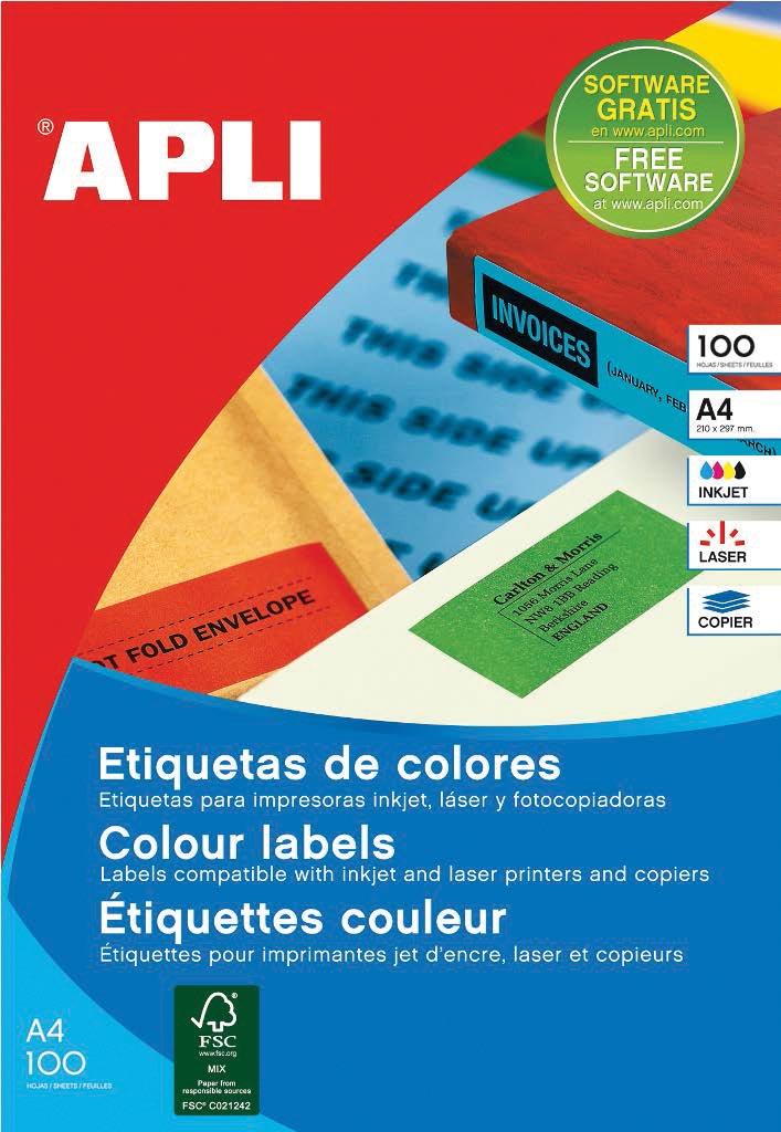 Apli Gekleurde etiketten ft 210 x 297 mm (b x h), groen, 100 stuks, 1 per blad