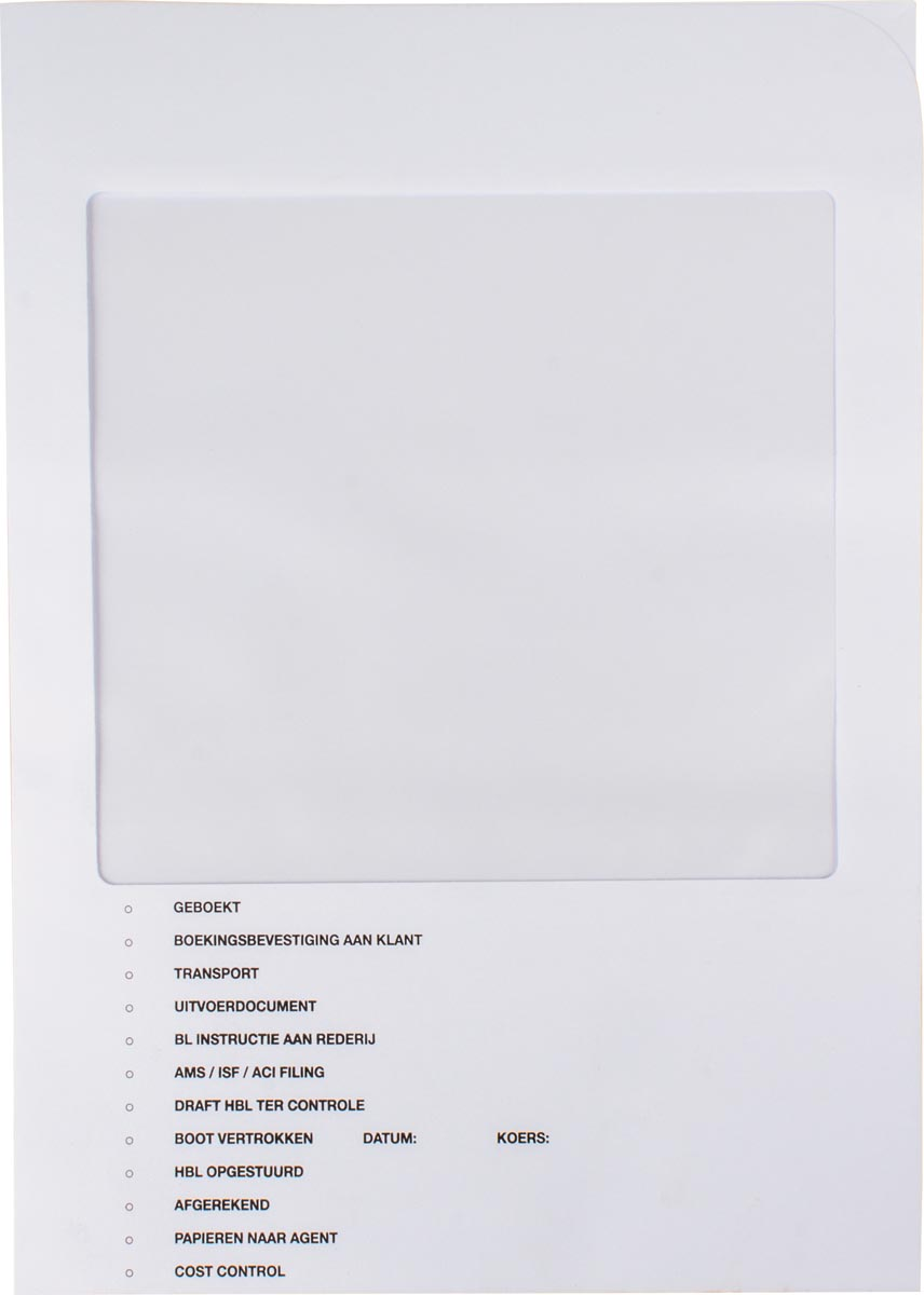 Douane mapje, wit, pak van 100 stuks