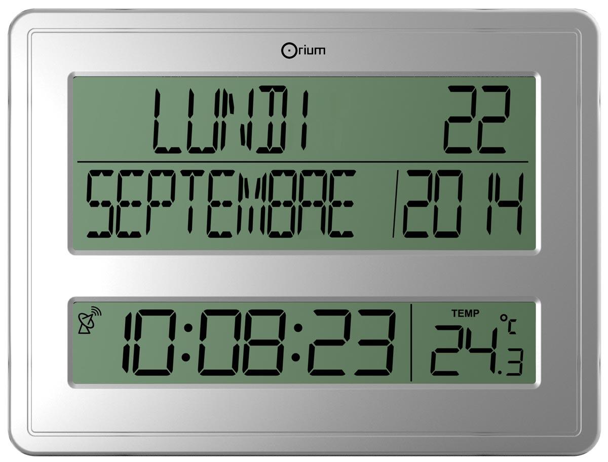 Orium by CEP digitale radiogestuurde klok en kalender, zilver