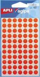 Agipa ronde etiketten in etui diameter 8 mm, rood, 462 stuks, 77 per blad