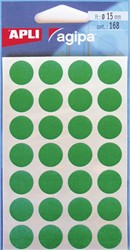 Agipa ronde etiketten in etui diameter 15 mm, groen, 168 stuks, 28 per blad