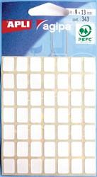 Agipa witte etiketten in etui ft 9 x 13 mm (b x h), 343 stuks, 49 per blad