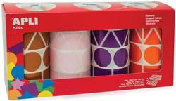 Apli Kids stickers XL, doos met 4 rollen in 4 kleuren en 4 vormen